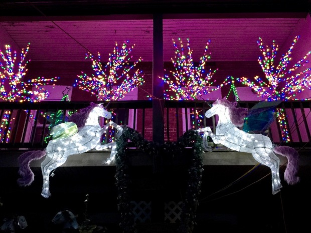 porch lit with elaborate light display