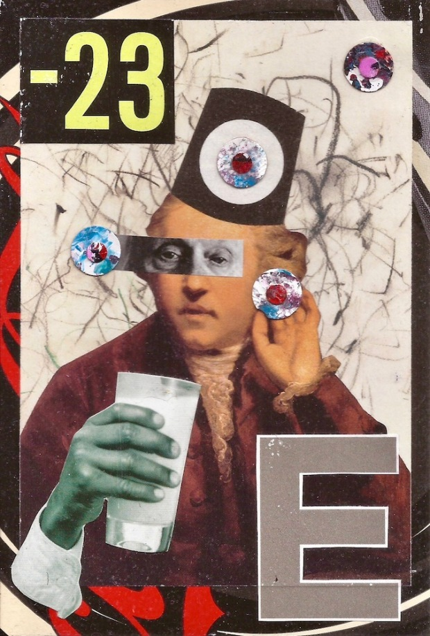 paper collage by artist Mark 347 including colonial-era figure with glass of milk and fez hat