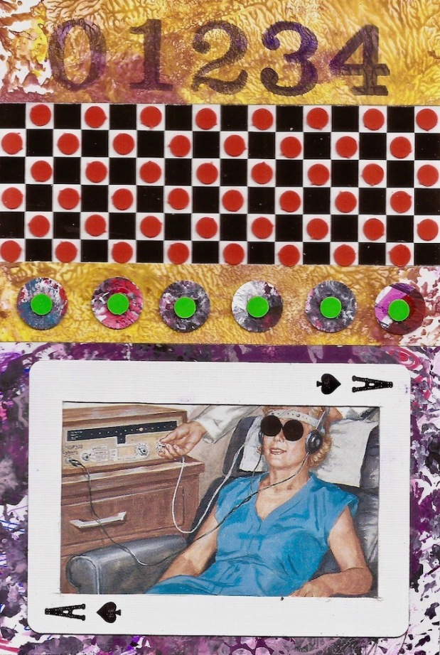 paper collage by artist Mark 347 including checkerboard, Ace playing card, and woman listening through headphones
