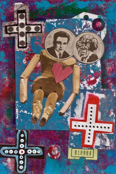 paper collage by artist Mark 347 including crosses, wooden figure, and abstract painted background
