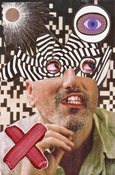 paper collage by artist Mark 347 including man with strange face mask