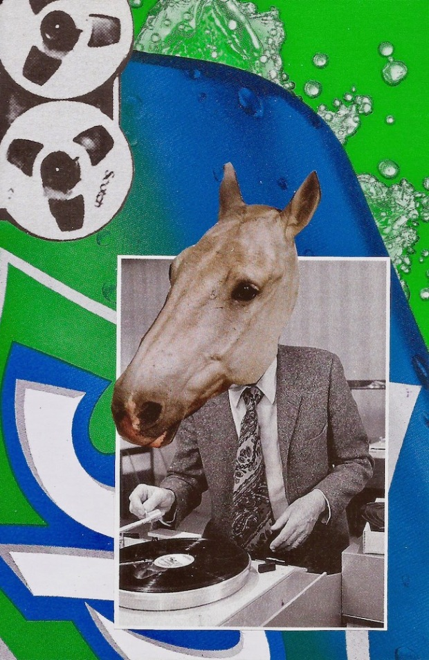 paper collage by artist Mark 347 including disk jockey with a horse's head