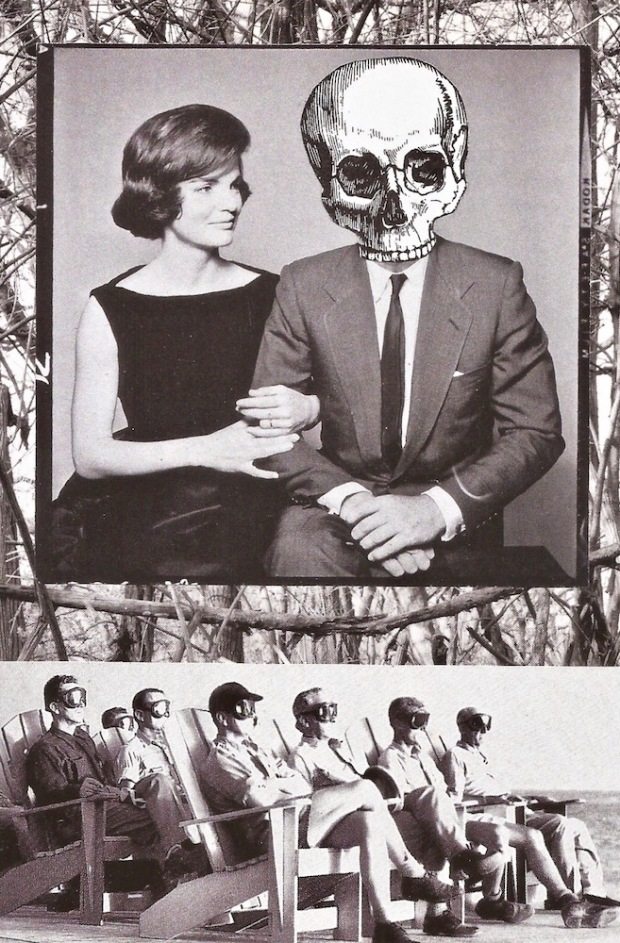 paper collage by artist Mark 347 including photograph of Jackie Kennedy and man with skull head