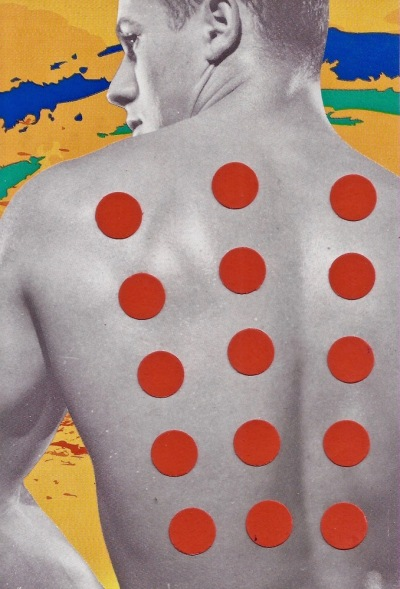 paper collage by artist Mark 347 including man with red dots on his bare back