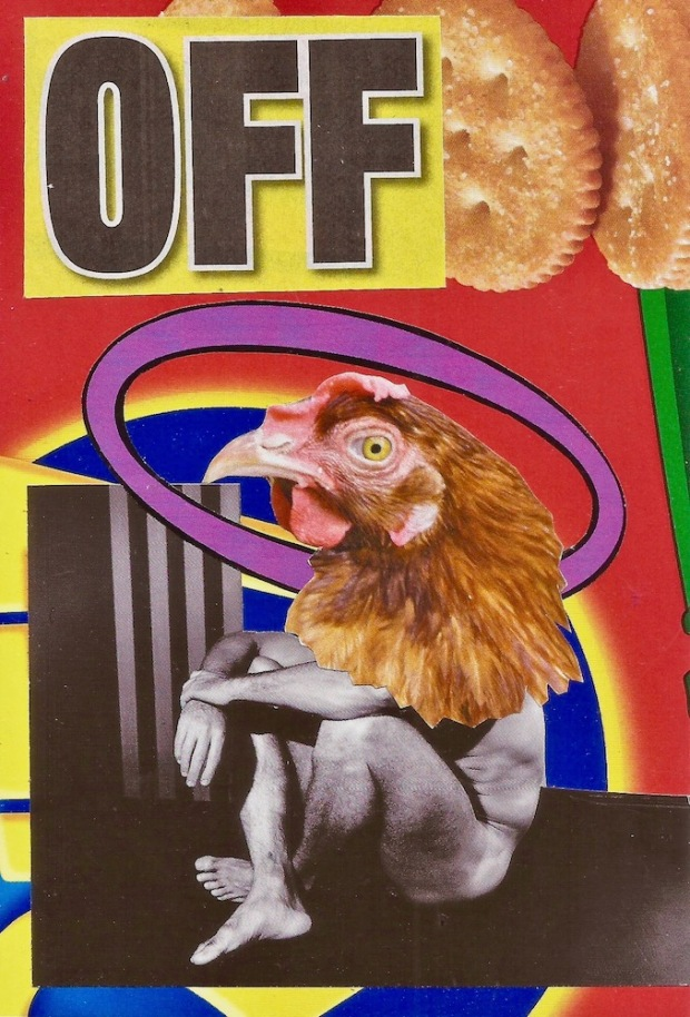 paper collage by artist Mark 347 including man with chicken head and the word OFF