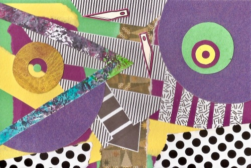 paper collage by artist Mark Janicko including layers of overlapping shapes and patterns