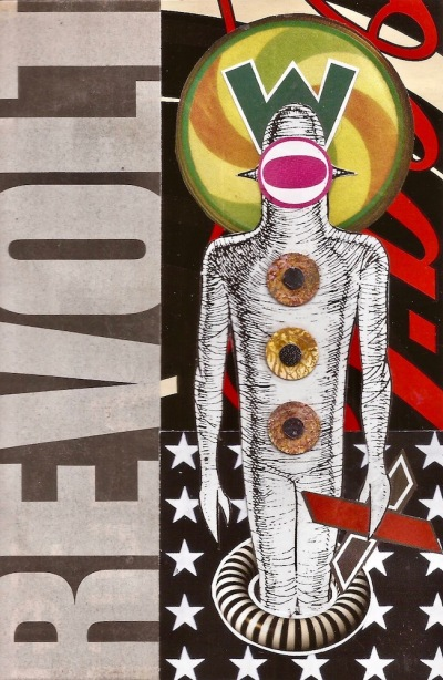 paper collage by artist Mark 347 including alien figure and the word REVOLT