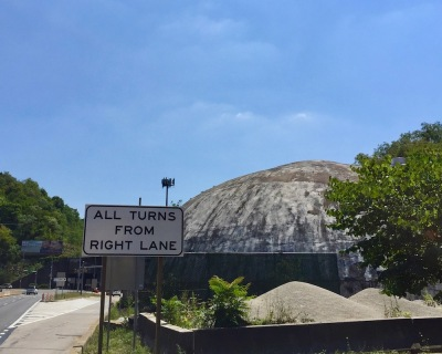 salt dome by busy two-lane highway