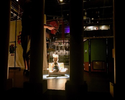 stage shot of marionette on film set