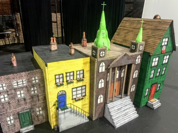 puppet stage set including four model buildings
