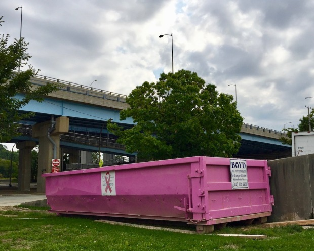pink breast cancer awareness dumpster by highway overpass