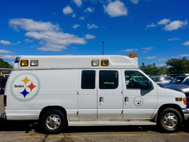 former ambulance decorated with Pittsburgh Steelers team logos