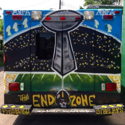 cargo van painted for Pittsburgh Steelers