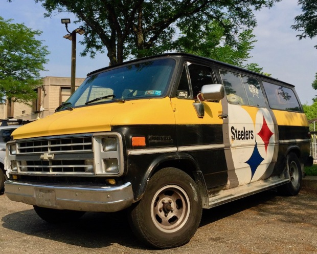 Chevy van decorated in celebration of the Pittsburgh Steelers