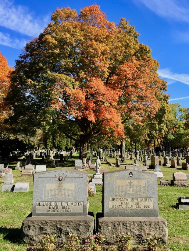 matching gravestones with ceramic photo insets for husband and wife, Beaver Cemetery