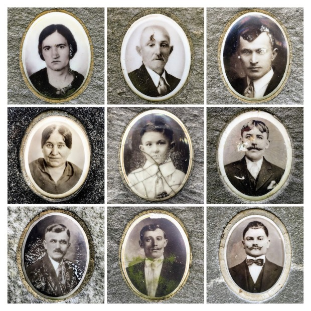 collage of ceramic photos found on grave markers at Beaver Cemetery