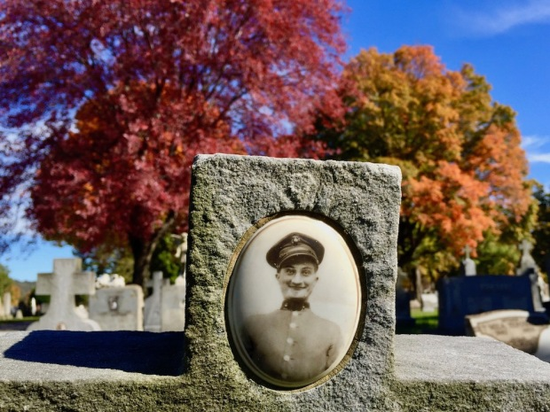 grave marker with ceramic photo inset