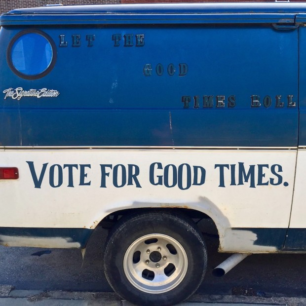 "custom van decorated with the message ""Let the good times roll"""