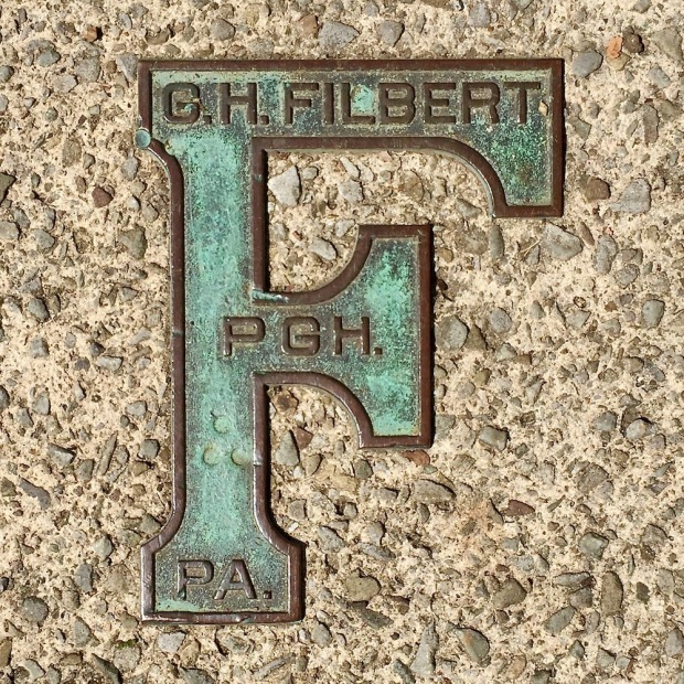 brass sidewalk plaque for G.H. Filbert, Pittsburgh, PA