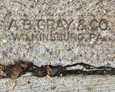 sidewalk stamp for A.B. Gray, Pittsburgh, PA