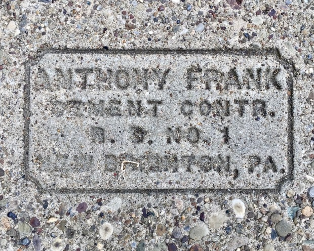sidewalk stamp for Anthony Frank, Beaver, PA