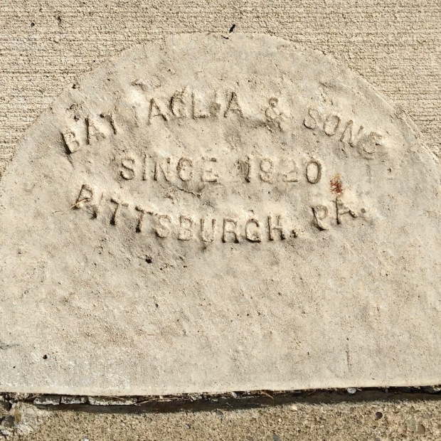 sidewalk stamp for Battaglia & Sons, Pittsburgh, PA