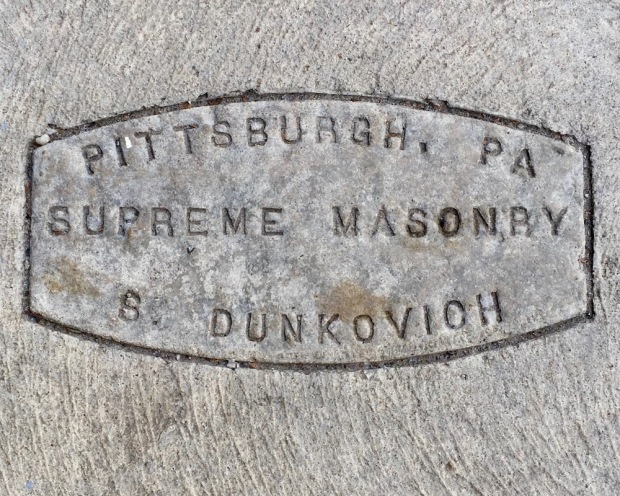 sidewalk stamp for Supreme Masonry, Pittsburgh, PA