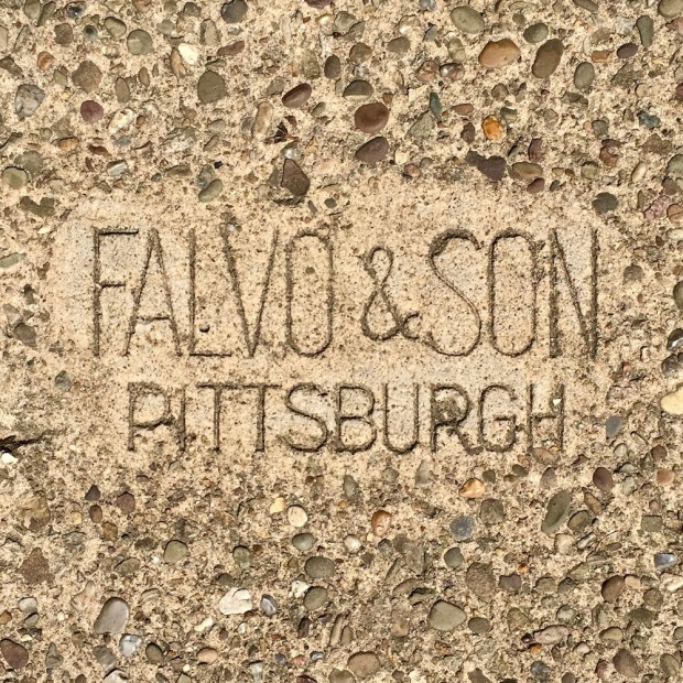 sidewalk stamp for Falvo & Son, Pittsburgh, PA