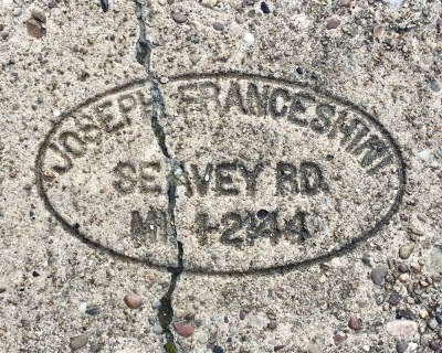 sidewalk stamp for Joseph Franceshini, Pittsburgh, PA