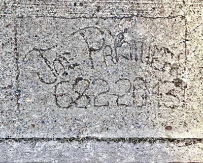 hand-written sidewalk stamp for Joe Palmiera, Pittsburgh