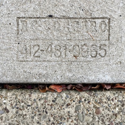 sidewalk stamp for R.C. Coccaro, Pittsburgh, PA