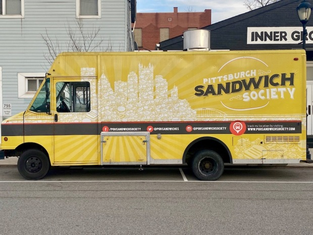 Pittsburgh Sandwich Society food truck with Pittsburgh skyline made from sandwiches