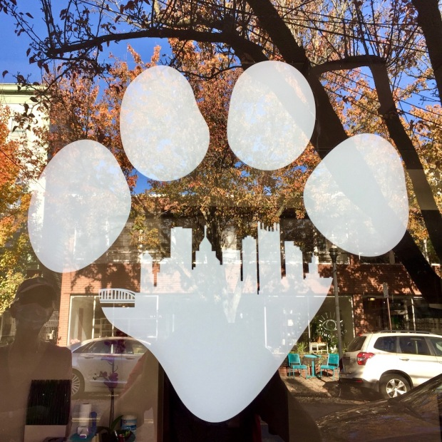 Point Breeze Veterinary Clinic logo including the Pittsburgh skyline inside an animal's paw print