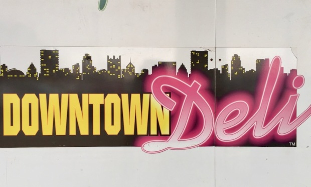downtown Pittsburgh skyline as part of Shop'n'Save's Downtown Deli sign
