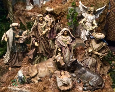 Christmas nativity scene in retail store window