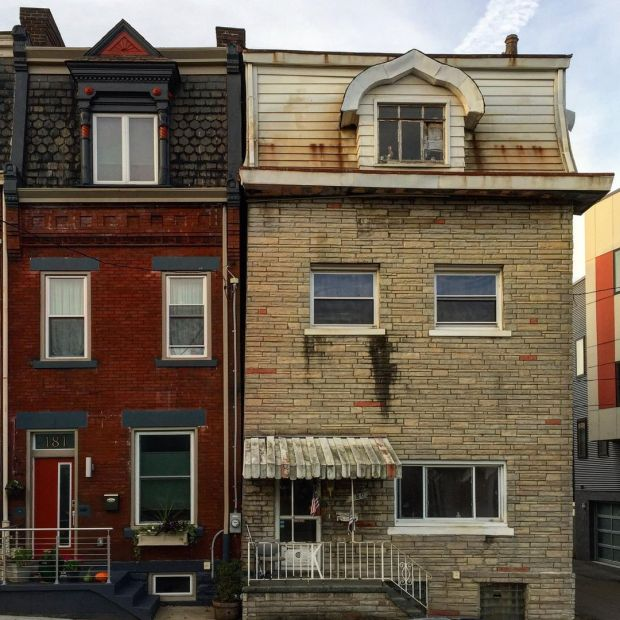 pair of row houses of different architectural styles, Pittsburgh, PA