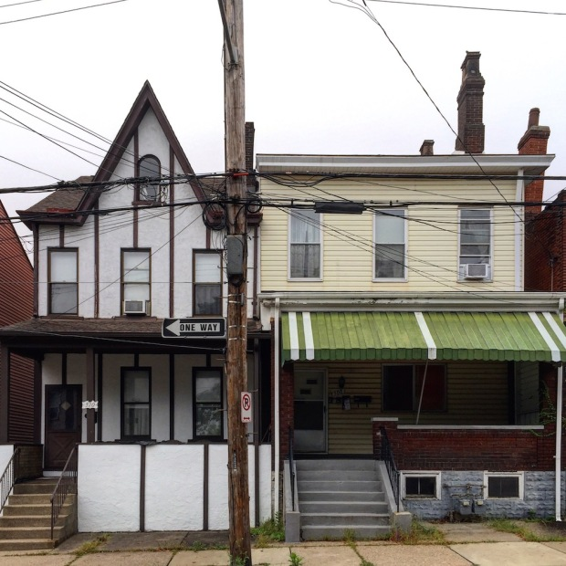 row houses of very different architectural styles, Pittsburgh, PA