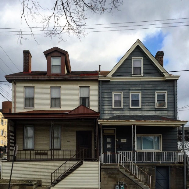 row houses of very different architectural designs, Pittsburgh, PA