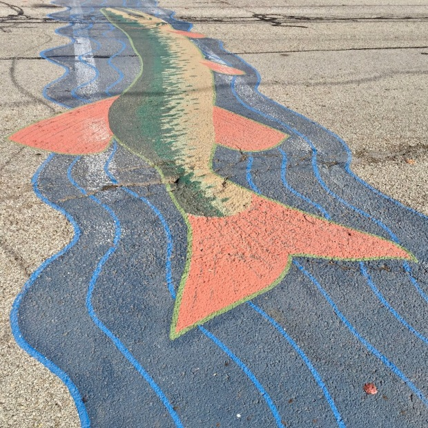 street crosswalk mural of large fish in water