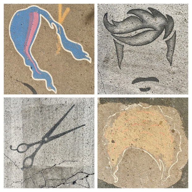details from different murals painted in crosswalks, all of haircuts or scissors