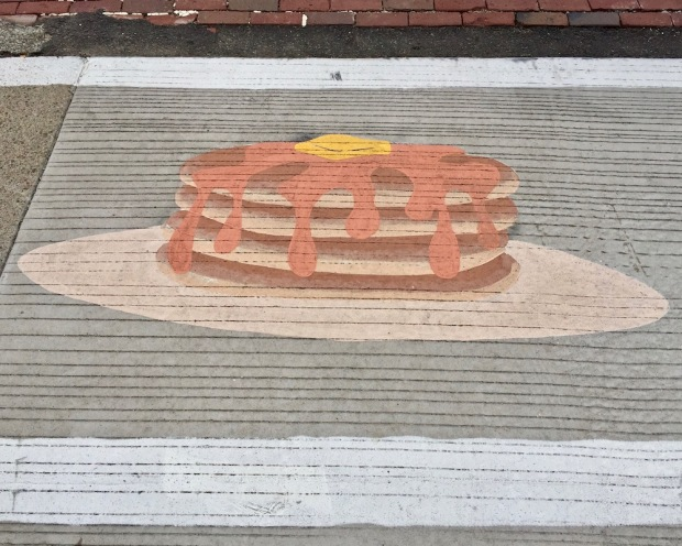 street crosswalk mural of stack of pancakes