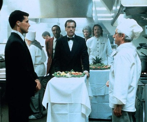 "scene from ""Sudden Death"" with villains in a catering kitchen"