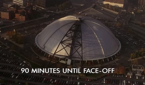 "Scene from ""Sudden Death"" with overhead shot of former Pittsburgh Civic Arena"