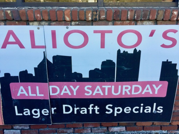 sign for bar including silhouette of the Pittsburgh skyline