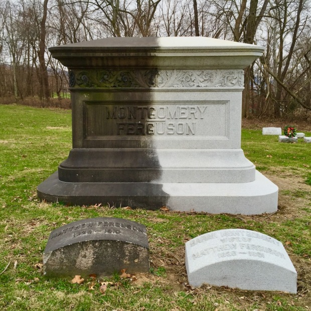 large cemetery monument colored half black and half white