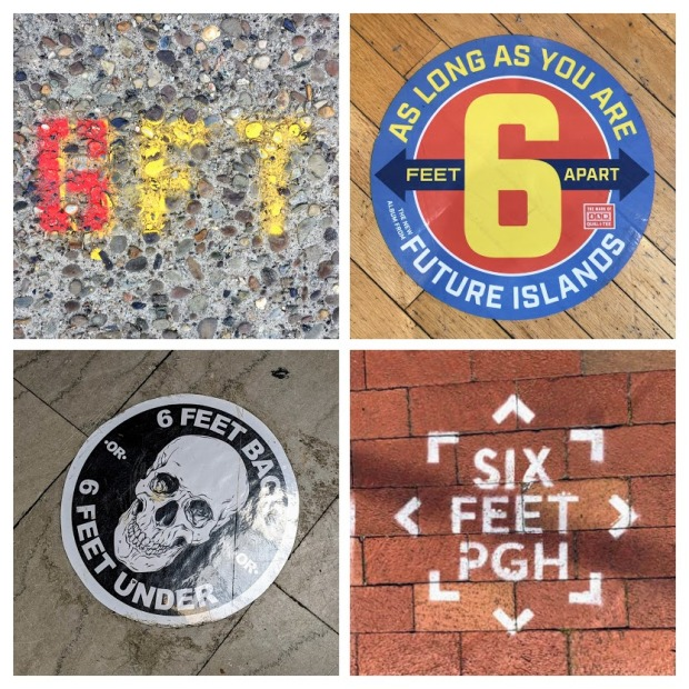 stickers and sidewalk stencils marking 6 feet distances during coronavirus