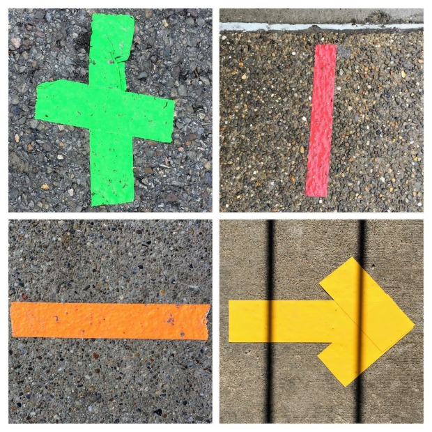 collage of tape markings on sidewalk in multicolor duct tape