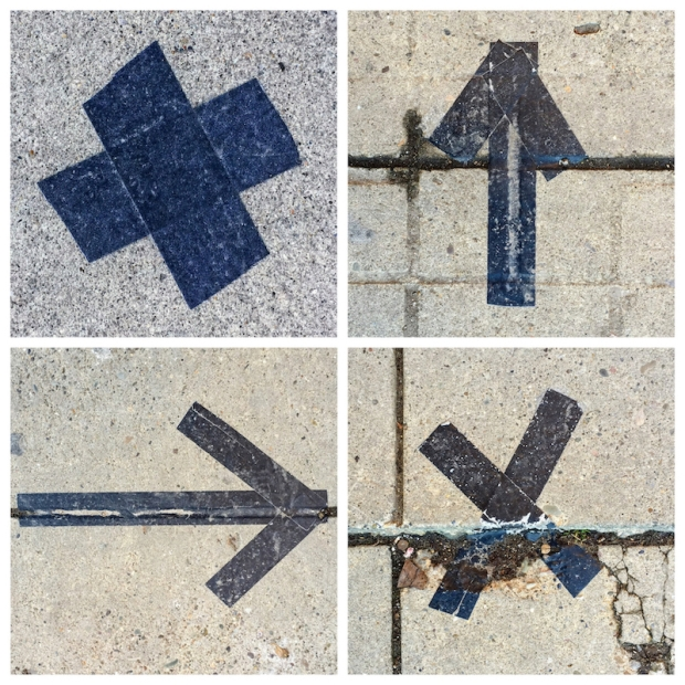 collage of six foot markers made from black tape on cement sidewalk