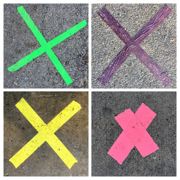 collage of Xs made with tape on sidewalks