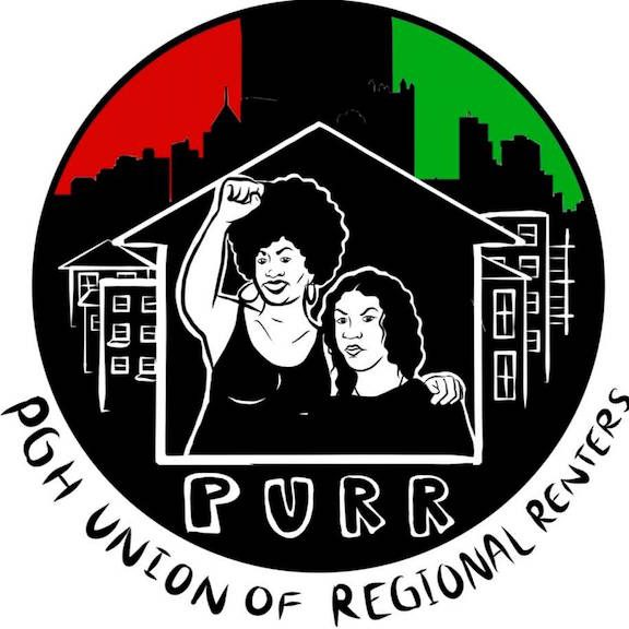 logo for Pittsburgh Union of Regional Renters including skyline of downtown Pittsburgh against red/black/green colors